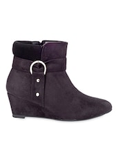 Black  Suede Ankle Length Boots - By