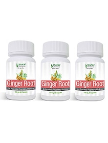 Ginger Root Capsules 60's - asthma , antioxidant, reduce menstrual pain, relieve a headache, arthritis (Pack of Three)