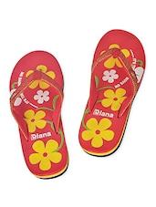 Red Floral Flip Flops - Diana