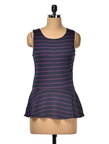COTTON LYCRA STRIPE PEPLUM TOP - Hotberries
