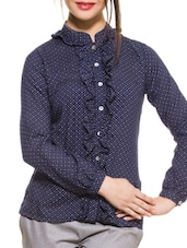 Blue Ruffled Placket Shirt - ZOVI