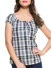 Blue & White Checkered Top - ZOVI