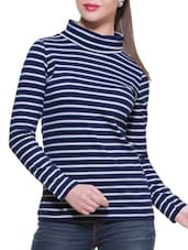 Blue & White Stripe Turtle Neck Top - ZOVI