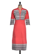 Aztec Printed Three Quarter Sleeves Cotton Kurti - Golden Peacok