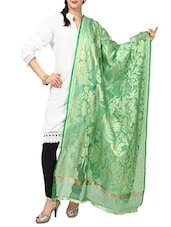Light Green Cotton Banarasi  Dupatta - By