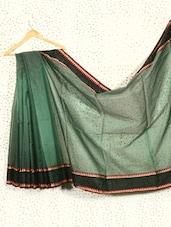 Bottle Green Art Silk And Cotton Banarasi Saree - Prabha Creations