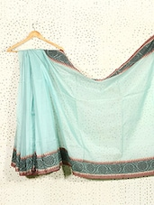Sky Blue Art Silk And Cotton Banarasi Saree - Prabha Creations