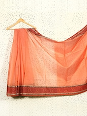 Peach Orange Art Silk And Cotton Banarasi Saree - Prabha Creations