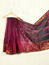 Printed Burgundy Art Silk And Zari Banarasi Saree - Prabha Creations