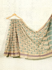 Printed Beige Art Silk And Zari Saree - Prabha Creations