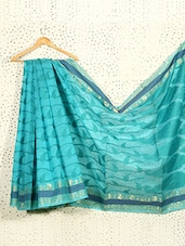 Printed Aqua Blue Art Silk And Zari Saree - Prabha Creations