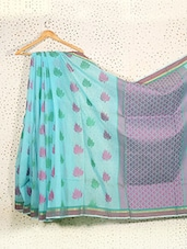 Lotus Print Sky Blue Art Silk Saree - Prabha Creations