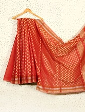 Red Art Silk And Cotton Banarasi Saree - Prabha Creations