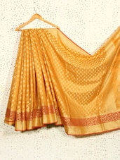 Mustard Yellow Art Silk And Cotton Banarasi Saree - Prabha Creations