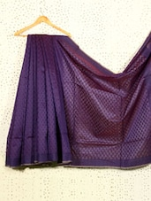 Purple Jacquard Art Silk And Cotton Saree - Prabha Creations