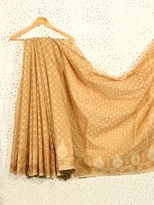 Beige Jacquard Art Silk And Cotton Saree - Prabha Creations