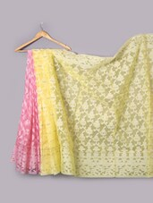 Pink And Yellow Art Silk Saree - Prabha Creations