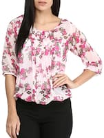 pink poly crepe top -  online shopping for Tops