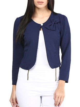 blue poly blend summer jacket