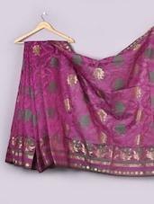 Magenta Woven Floral Cotton Silk Saree - WEAVING ROOTS