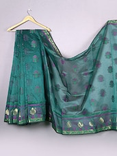 Teal Green Floral Cotton Silk Saree - WEAVING ROOTS