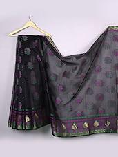 Dark Grey Woven Floral Cotton Silk Saree - WEAVING ROOTS