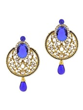 Gold Plated Alloy With Royal Blue Crystals Earrings - Rich Lady