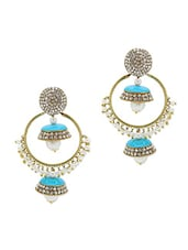 Gold Plated Alloy With Sky Blue Crystals Earrings - Rich Lady
