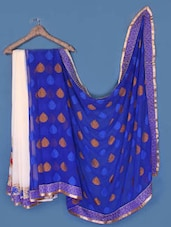 Cream And Royal Blue Georgette Saree - Anoha