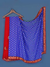 Red And Cerulean Blue Georgette Saree - Anoha
