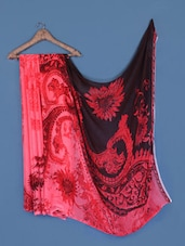 Black And Pink Printed Georgette Saree - Anoha