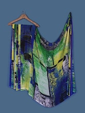 Abstract Print Blue And Green Georgette Saree - Anoha