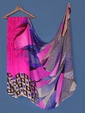 Abstract Printed Pink Georgette Saree - Anoha