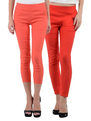 red, peach cotton lycra leggings