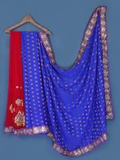 Elegant Maroon And Royal Blue Saree - Anoha
