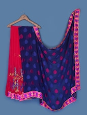 Elegant Dark Pink And Navy Blue Saree - Anoha
