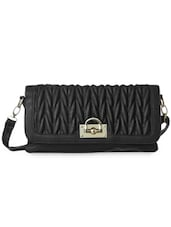 Black Textured Leatherette Sling Bag - Cappuccino