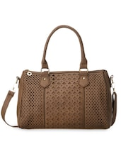 Toupe Cut Work Leatherette Hand Bag - Cappuccino