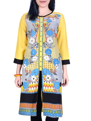 Juniper yellow button-down kurta with floral prints