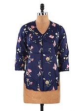Navy Blue Floral Print Rayon Top - LifenYou