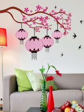 Pink Chinese Lamps on Branches  vinyl sticker -  online shopping for Wall Decals & Stickers