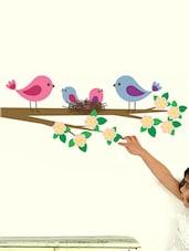 Flower Branch With Birds Family Wall Sticker - WallDana