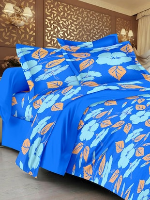 Lali Prints Blue Beautiful leaves 1 double bedsheet with 2 pillow cover