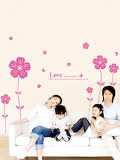 Wall Decals Pink Love Flowers Wall Sticker - WallDana