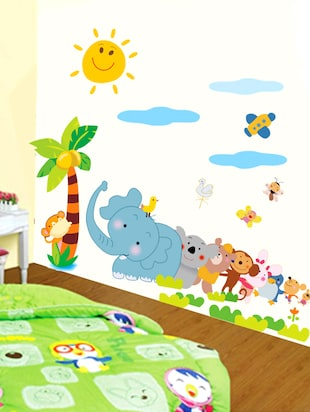 Jungle Cartoon Animals Kingdom Kids Wall Sticker