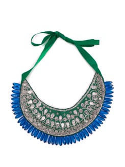 Silver Gota Patti Bib Necklace In Green And Blue - Xx Syndrome