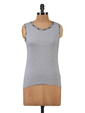 Sleeveless Top With Printed Neckline - Hypernation