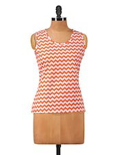 Round Neck Chevron Print Sleeveless Tops - Hypernation