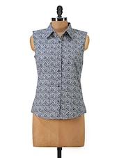 Floral  Printed Sleeveless Shirt - Hypernation