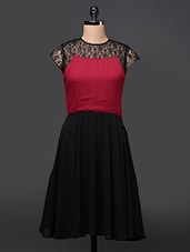 Lace Yoke A-Line Georgette Dress - Eavan
